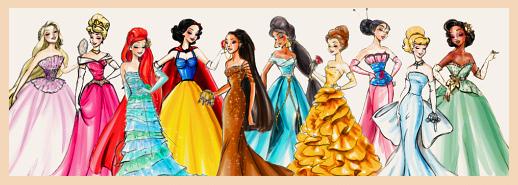 L-to-R: Rapunzel, Sleeping Beauty, Ariel, Snow White, Pocahontas, Jasmine, Belle, Mulan, Cinderella, Tiana