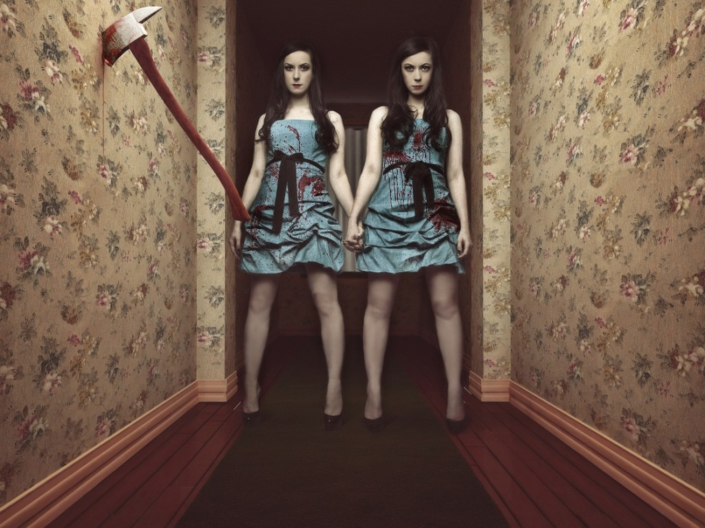 Jen and Sylvia Soska recreating The Shining's iconic twinzies.